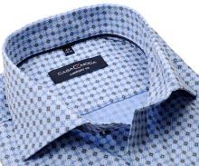 Koszula Casa Moda Comfort Fit – luksusowa jasnoniebieska w niebiesko-beżowy wzór