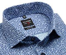 Koszula Olymp Level Five – ekskluzywna ciemnoniebieska w jasnoniebieski wzór kwiatów