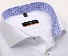 Koszula Eterna Slim Fit – biała o delikatnej strukturze, z niebiesko-białą wewnętrzną stójką