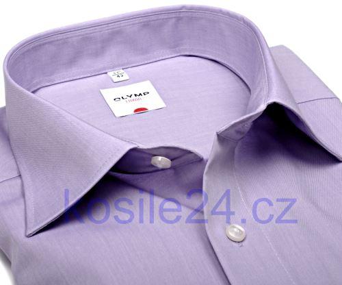 Koszula Olymp Luxor Comfort Fit Chambray - jasnofioletowa - krótki rękaw