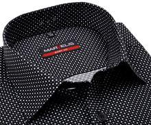 Koszula Marvelis Body Fit – czarna w szaro-białe kropki