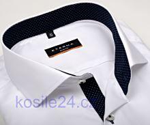 Koszula Eterna Slim Fit Fine Oxford – biała z granatowym kołnierzykiem wewnętrznym, mankietami i plisą