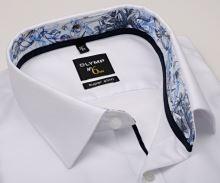 Koszula Olymp Super Slim – biała z delikatną strukturą, kołnierzykiem wewnętrznym i mankietem
