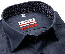 Koszula Marvelis Modern Fit – stalowo niebieska w jodełkę z wewnętrzną stójką i mankietem
