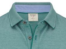 Koszulka polo body fit Olymp Level Five z kołnierzykiem – zielona w białą siateczkę