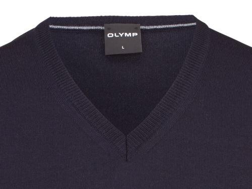 Sweter Olymp z wełny Merino - dekolt V - w kolorze granatowym