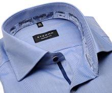 Koszula Eterna Comfort Fit Twill – niebiesko-biała z wewnętrzną stójką, mankietem i plisą