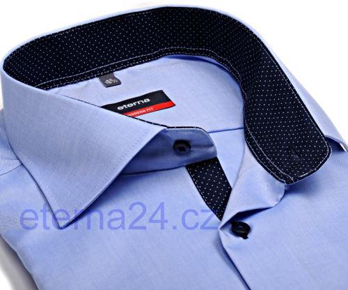 Koszula Eterna Modern Fit Fine Oxford - błękitna z granatowym kołnierzykiem wewnętrznym, mankietami i plisą