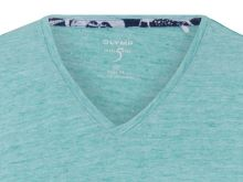 Jasnozielony lniany t-shirt Olymp Level Five z krótkim rękawem - dekolt V