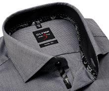 Koszula Olymp Level Five – szara z wyszytym wzorem i wewnętrzną stojką - extra długi rękaw