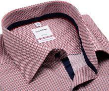 Koszula Olymp Luxor Comfort Fit – z czerwono-niebieskim wzorem - krótki rękaw