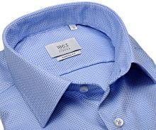 Koszula Eterna 1863 Modern Fit Two Ply - luksusowa niebieskobiała z tkanym wzorem - extra długi rękaw