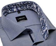 Koszula Venti Modern Fit – niebieska z delikatną strukturą i designerską stójką wewnętrzną