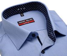 Koszula Marvelis Body Fit – jasnoniebieska z wplecionym wzorem i wewnętrzną stójką - extra długi rękaw