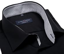 Koszula Casa Moda Comfort Fit – czarna z czarno-siwą stójką wewnętrzną i mankietem