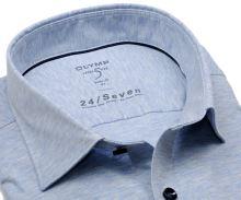 Koszula Olymp Super Slim 24/Seven – jasnoniebieska elastyczna w białą siateczkę