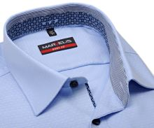 Koszula Marvelis Body Fit – jasnoniebieska z wyszytym wzorem i wewnętrzną stójką