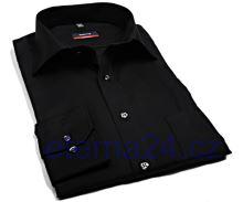 Koszula Eterna Modern Fit Uni Popeline - czarna bez kieszonki - extra długi rękaw