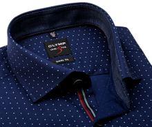 Koszula Olymp Level Five – ciemnoniebieska w kropki i wewnętrzną stójką - extra długi rękaw