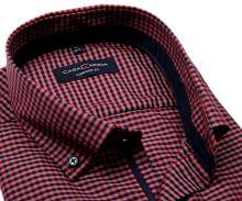 Koszula Casa Moda Comfort Fit – w czerwono-niebieską kratkę, z granatową wewnętrzną stójką i mankietem