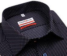 Koszula Marvelis Modern Fit – ciemnoniebieska w czerwono-białe kropki - krótki rękaw