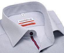 Koszula Marvelis Modern Fit – w niebieskie kropki z czerwono-niebieską plisą wewnętrzną - krótki rękaw