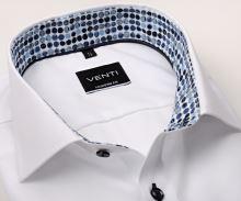 Koszula Venti Modern Fit – biała z designerską stójką wewnętrzną i mankietem – super długi rękaw