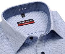 Koszula Marvelis Body Fit – z niebieskim wzorem w krateczkę - krótki rękaw