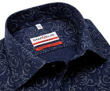 Koszula Marvelis Modern Fit - niebieska z nadrukowanymi kółkami - extra długi rękaw