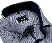 Koszula Venti Modern Fit – ciemnoniebieska z delikatną strukturą i stójką wewnętrzną - extra długi rękaw