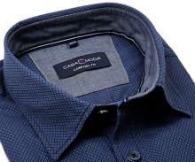 Casa Moda Comfort Fit  – ciemnoniebieska koszula z delikatnym wzorem - krótki rękaw