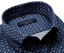 Koszula Casa Moda Comfort Fit – niebieska z delikatną strukturą z ornamentami - super długi rękaw