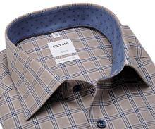 Koszula Olymp Luxor Comfort Fit - beźowo-niebieska w kratkę