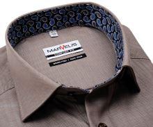 Koszula Marvelis Comfort Fit – beżowa w jodełkę z wewnętrzną stójką i mankietem
