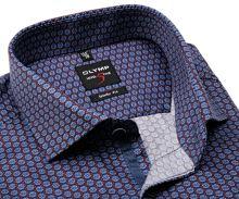 Koszula Olymp Level Five – winowo czerwona z niebiesko-białym wzorem - extra długi rękaw