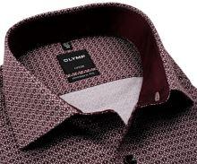 Koszula Olymp Modern Fit – z bordowym wzorem, wewnętrzną stójką i mankietem