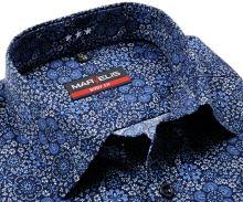 Koszula Marvelis Body Fit – designerska z niebiesko-białym wzorem kwiatów