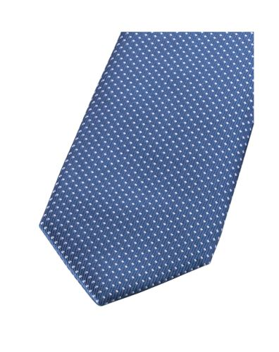Krawat super slim Olymp – królewsko niebieski z białym wzorem