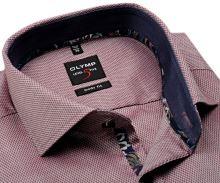 Koszula Olymp Level Five – czerwona z wyszytym wzorem i wewnętrzną stojką - extra długi rękaw
