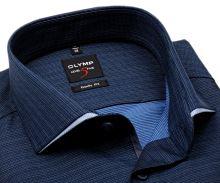 Koszula Olymp Level Five – ciemnoniebieska z delikatną strukturą i designerskim kołnierzem