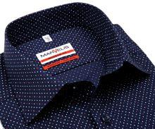 Koszula Marvelis Modern Fit - granatowa z czerwono-białymi kropeczkami - krótki rękaw