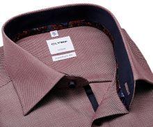 Koszula Olymp Comfort Fit – winowo czerwona z wyszytym wzorem i wewnętrzną stójką - extra długi rękaw