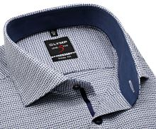 Koszula Olymp Level Five – w niebieskę kratkę, z wyszytym wzorem, wewnętrzną stójką i mankietem