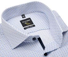 Koszula Olymp Super Slim – biała z delikatną strukturą i niebieskim wzorem