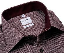 Koszula Olymp Comfort Fit – z bordowym wzorem, wewnętrzną stójką i mankietem