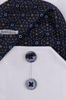 Koszula Eterna Modern Fit - biała z niebiesko-brązową wewnętrzną stójką, mankietem i plisą