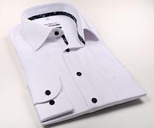 Marvelis Modern Fit – biała koszula z wyszytym wzorem, wewnętrzną stójką i plisą