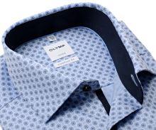 Koszula Olymp Comfort Fit – jasnoniebieska z niebieskim wzorem i ciemnoniebieską wewnętrzną stójką