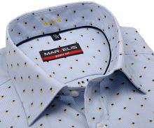 Koszula Marvelis Body Fit – w jasnoniebieskie paski z niebiesko-żółtym wzorem - krótki rękaw
