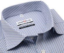Koszula Marvelis Comfort Fit - z niebiesko-brązowym wzorem - krótki rękaw